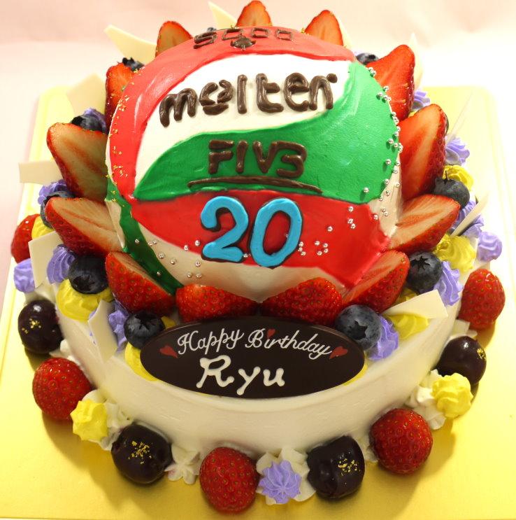バレーボールの立体ケーキ