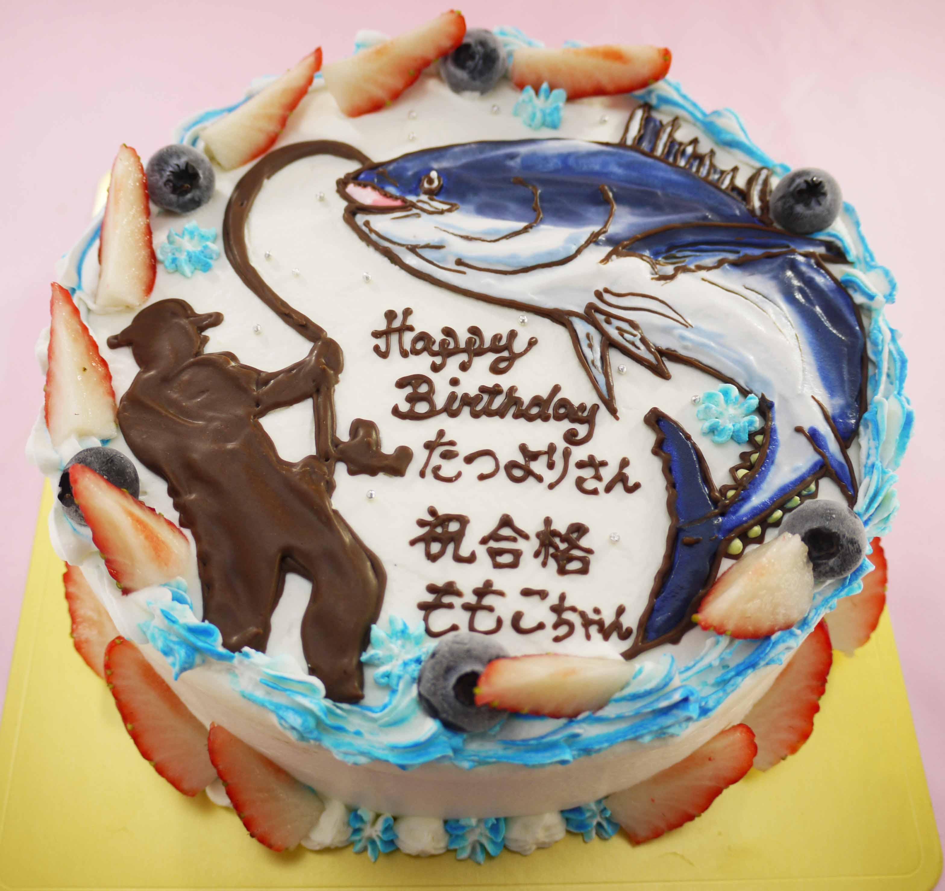 魚釣りのイラストケーキ