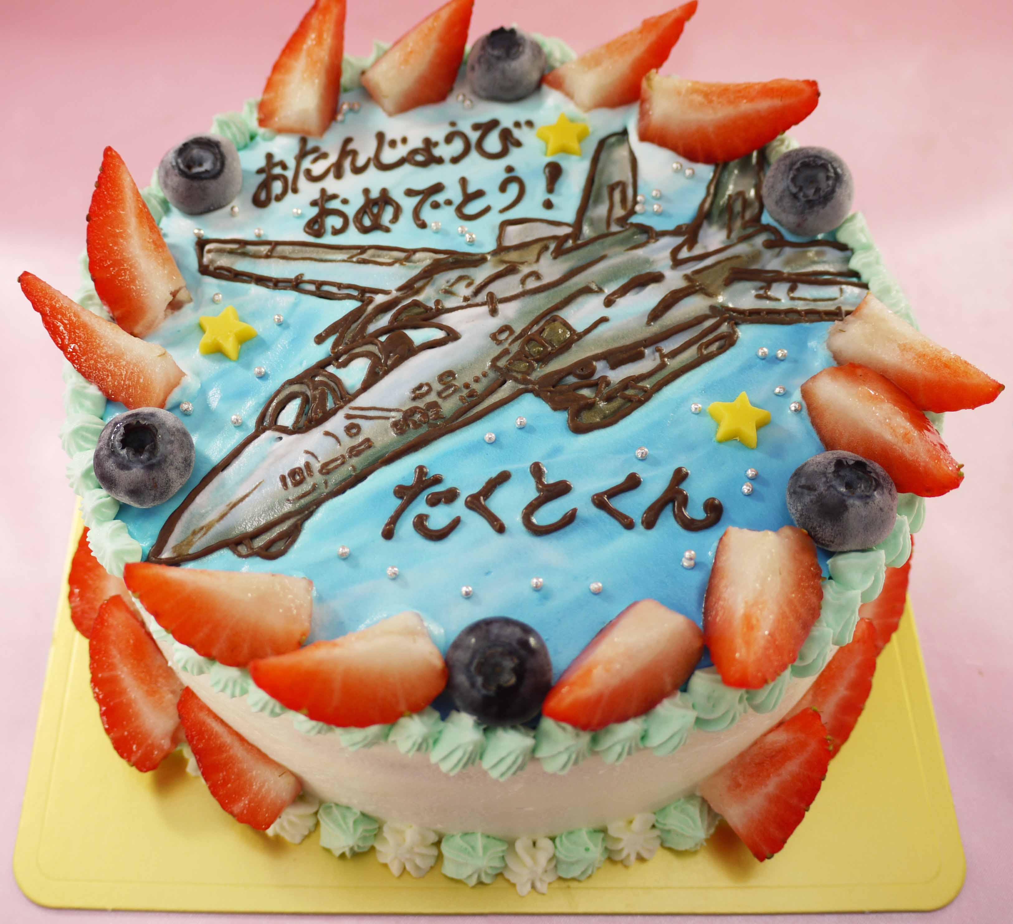 戦闘機のイラストケーキ
