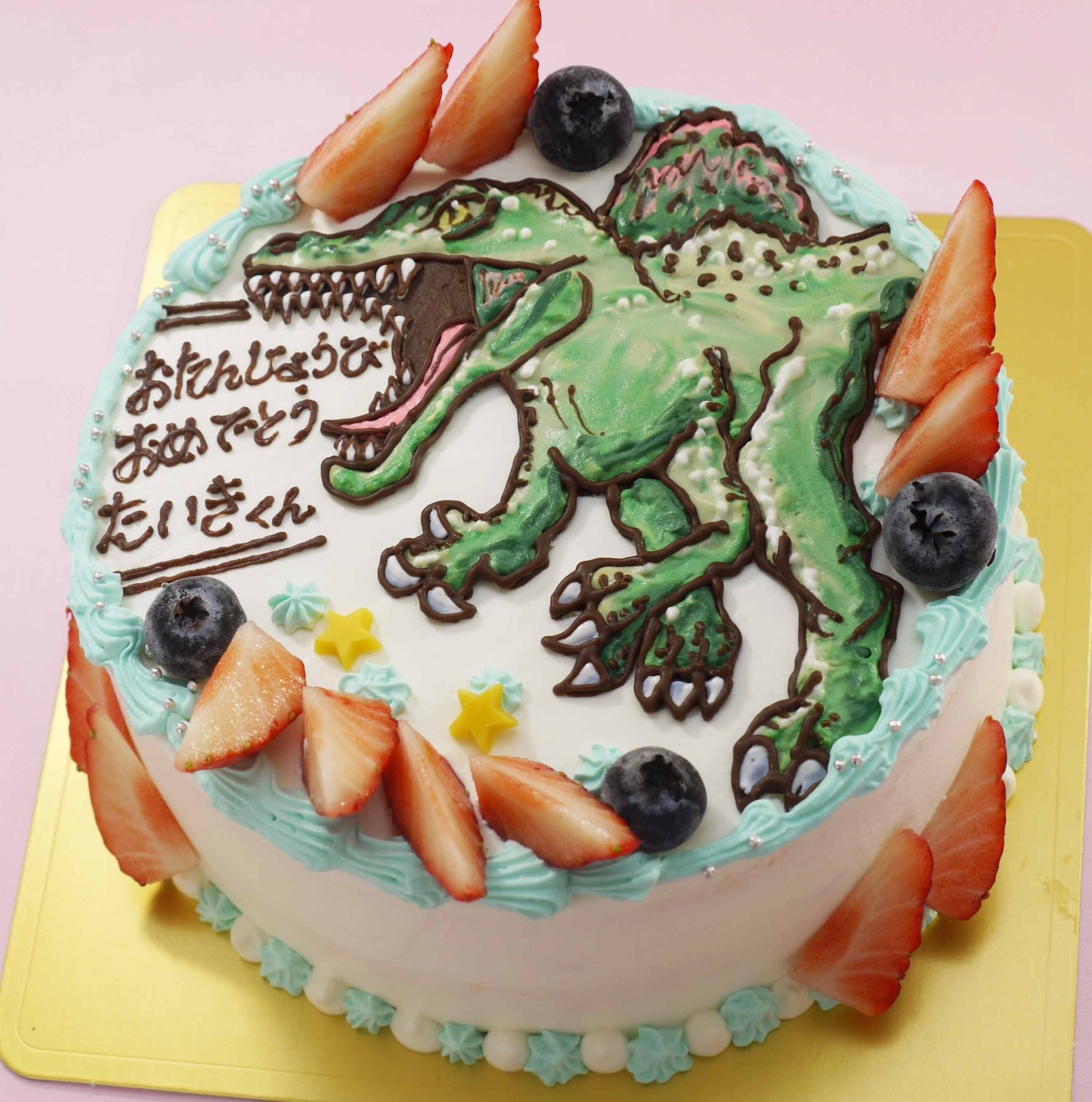 スピノサウルスのイラストケーキ