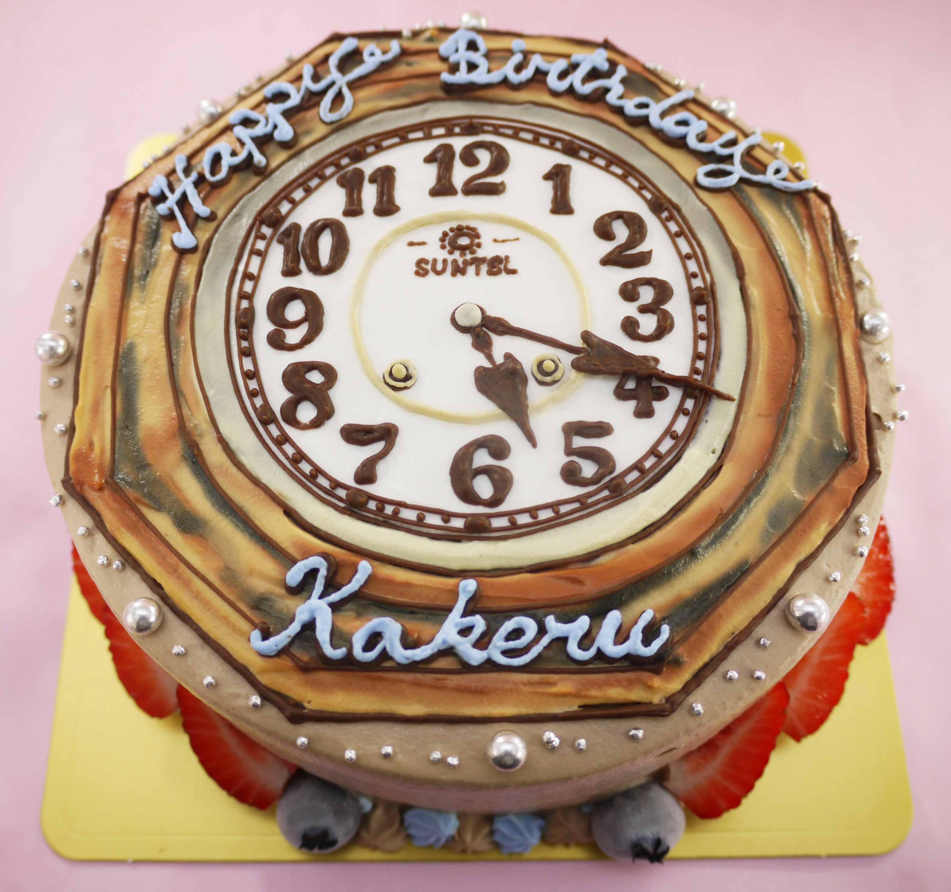時計のイラストケーキ