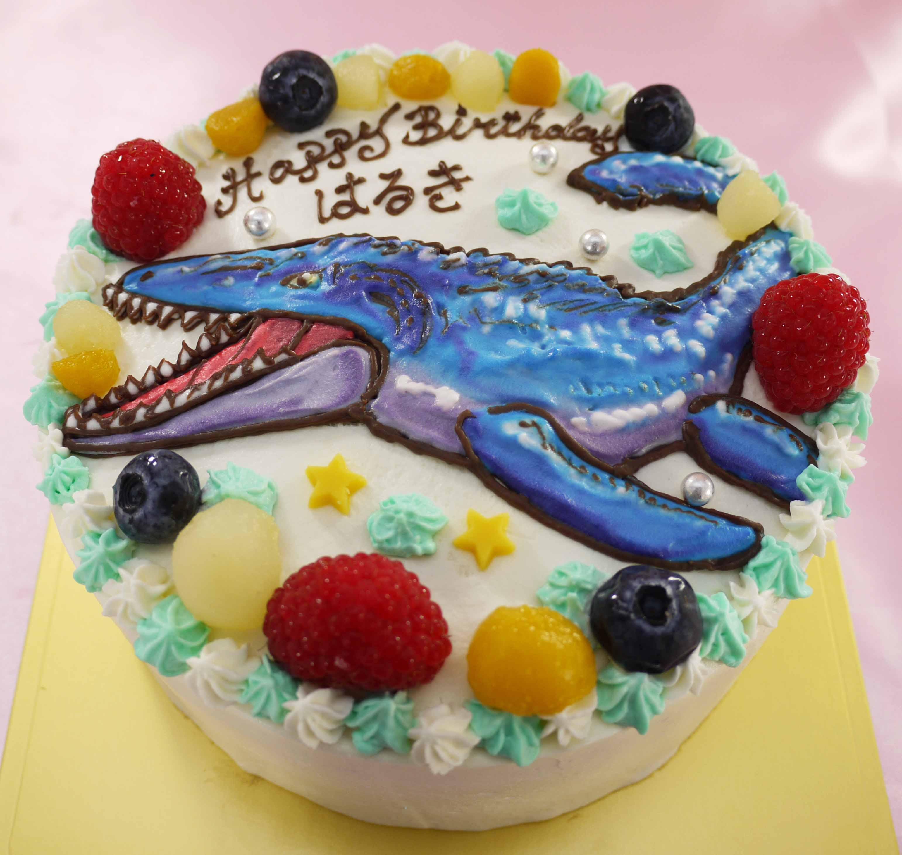 モササウルス(恐竜)のイラストケーキ