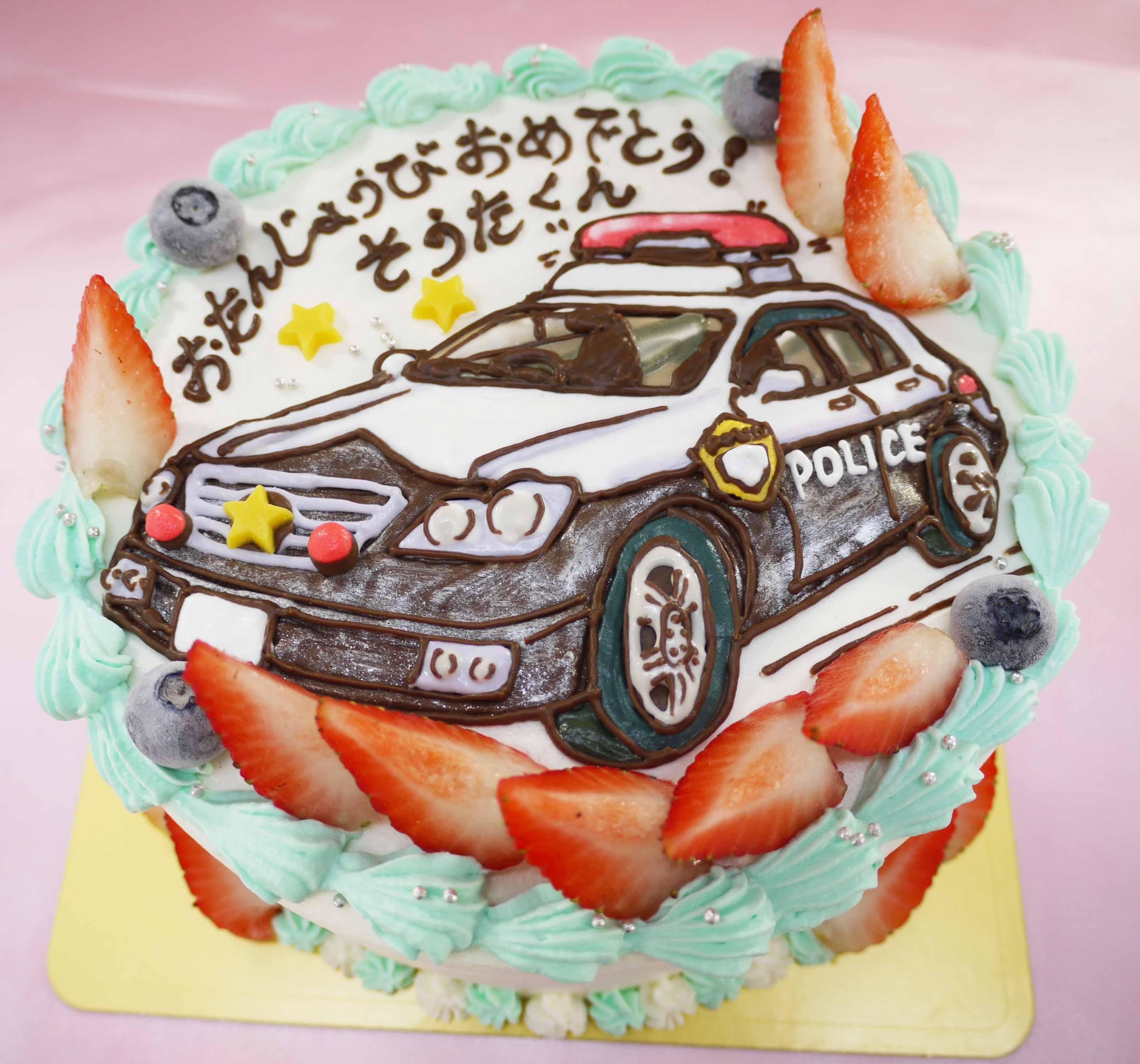 パトカーのイラストケーキ