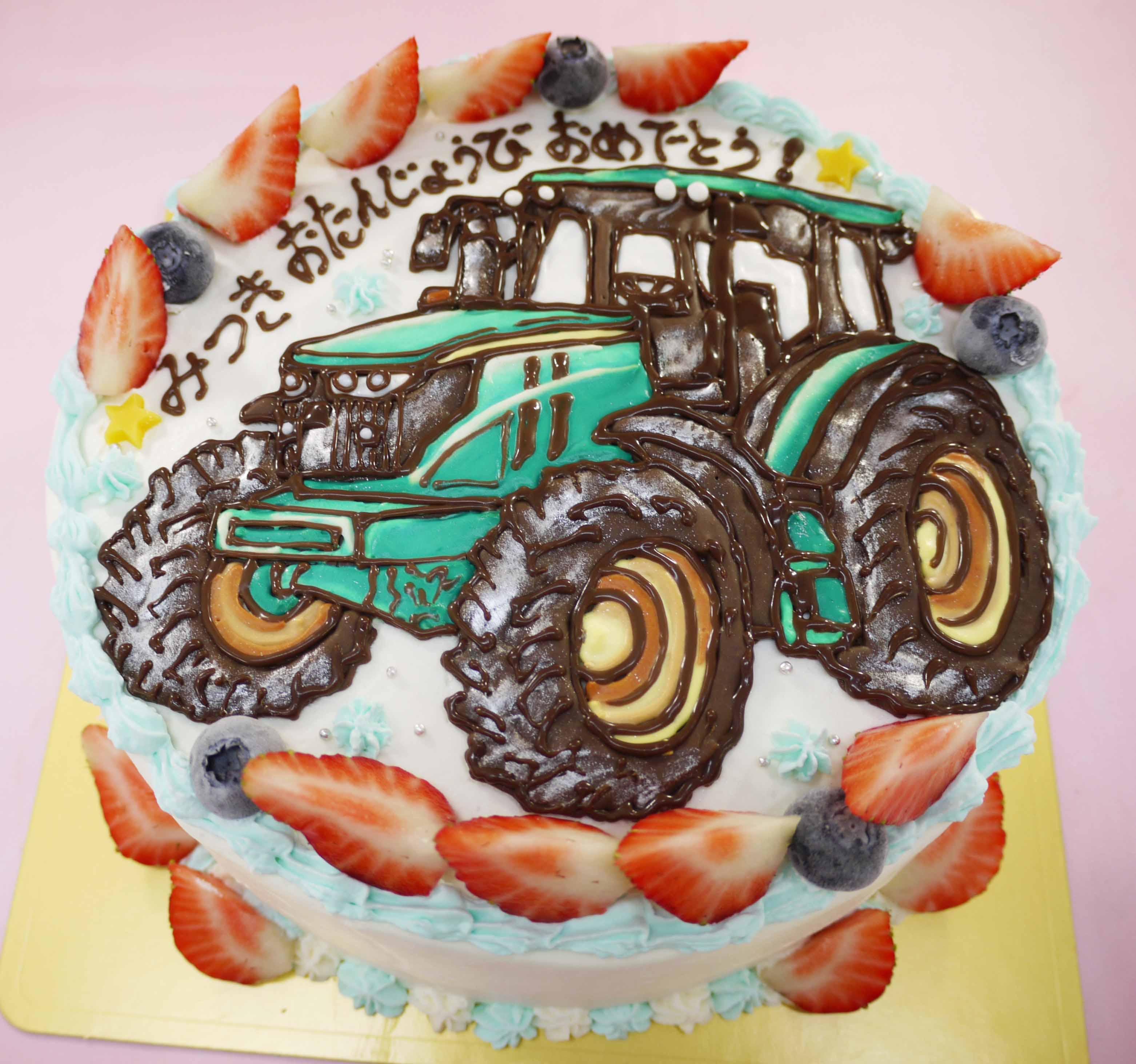 トラクターのイラストケーキ
