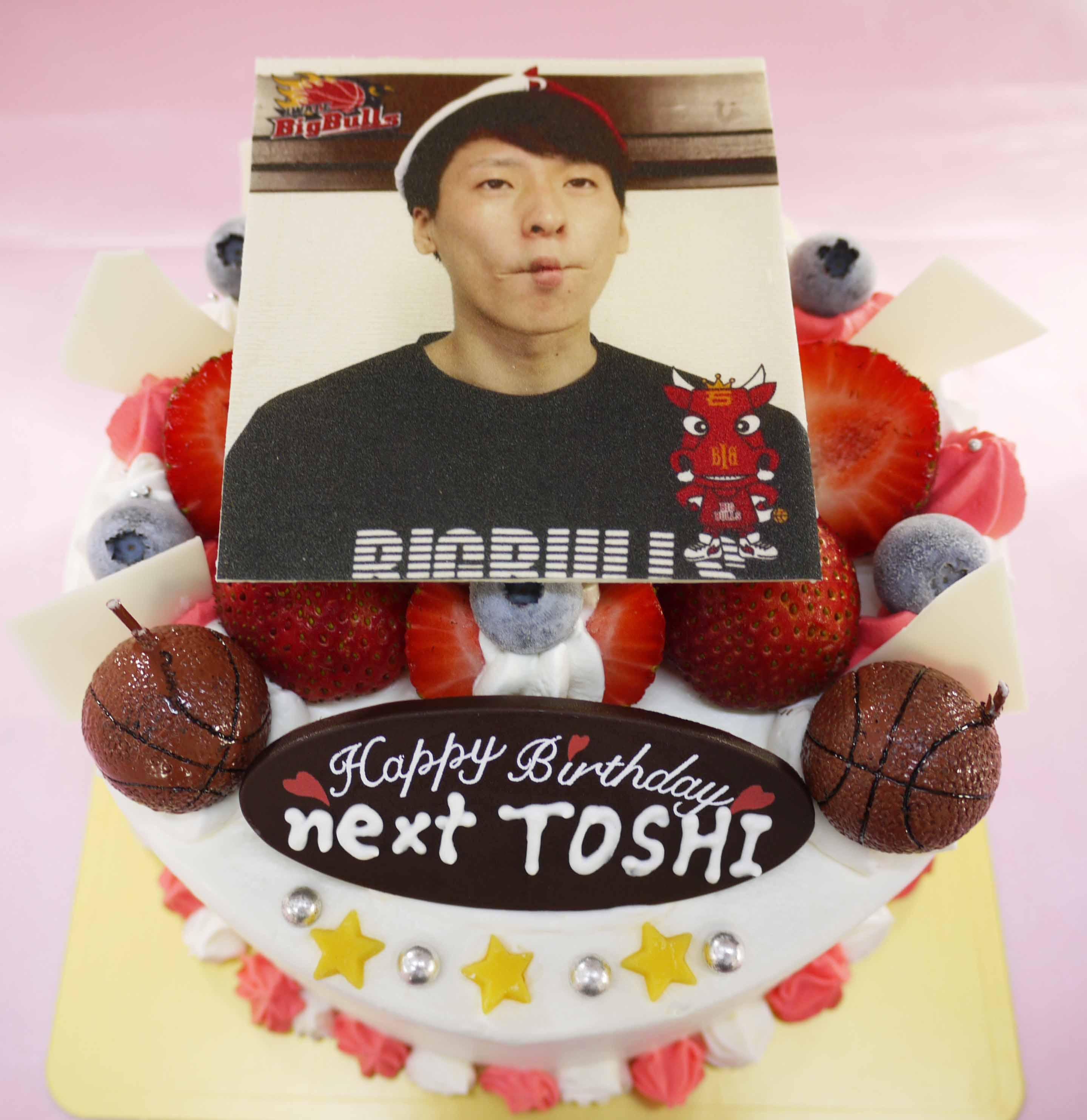 岩手ビッグブルズ横川俊樹選手の誕生日ケーキ