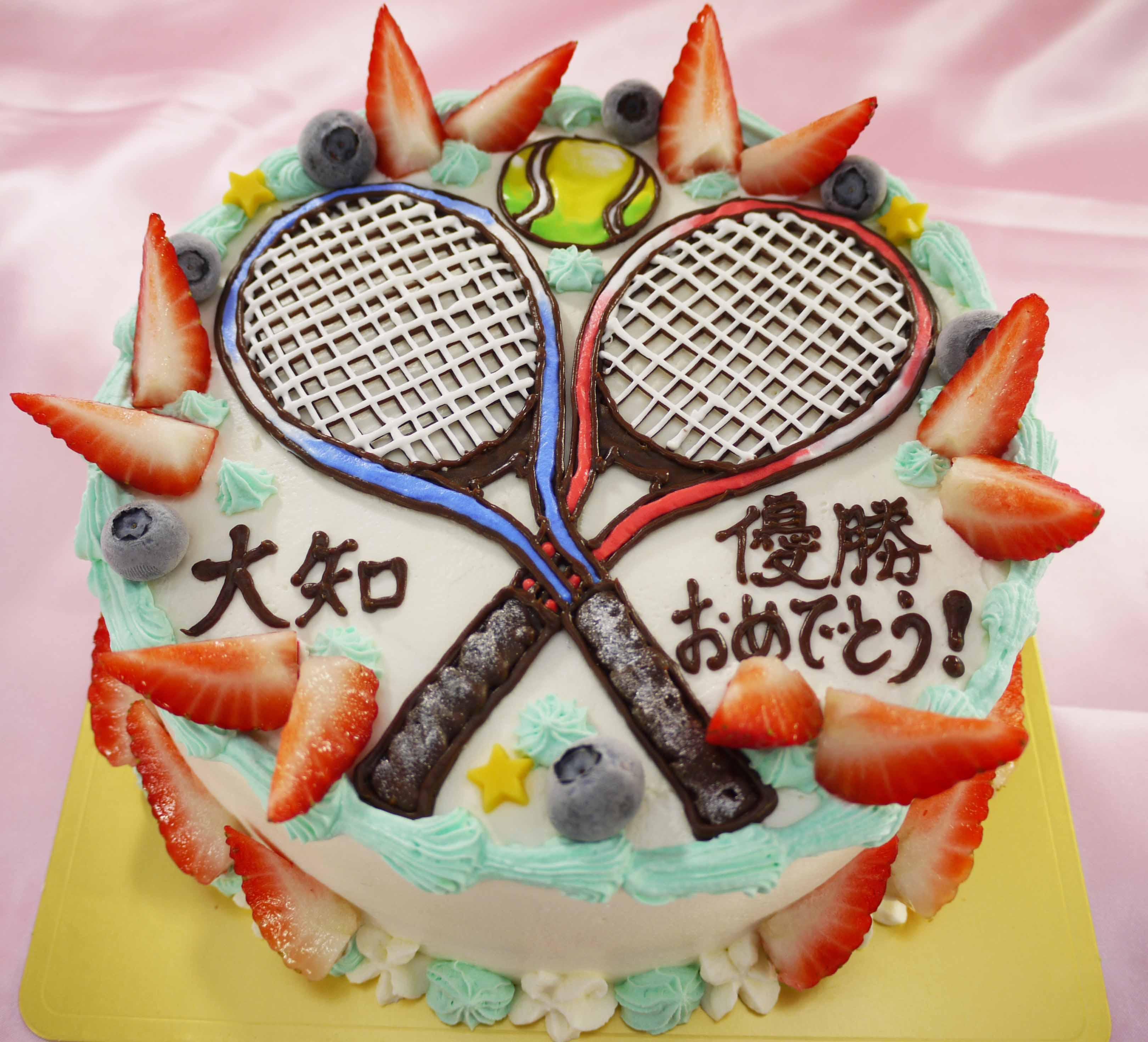 テニスラケットのイラストケーキ