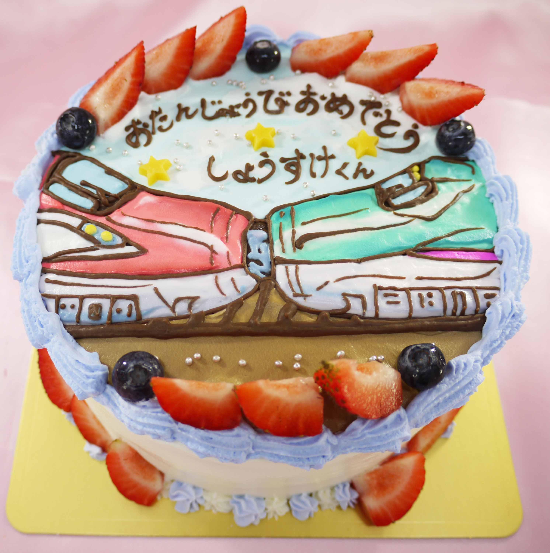 新幹線連結のイラストケーキ