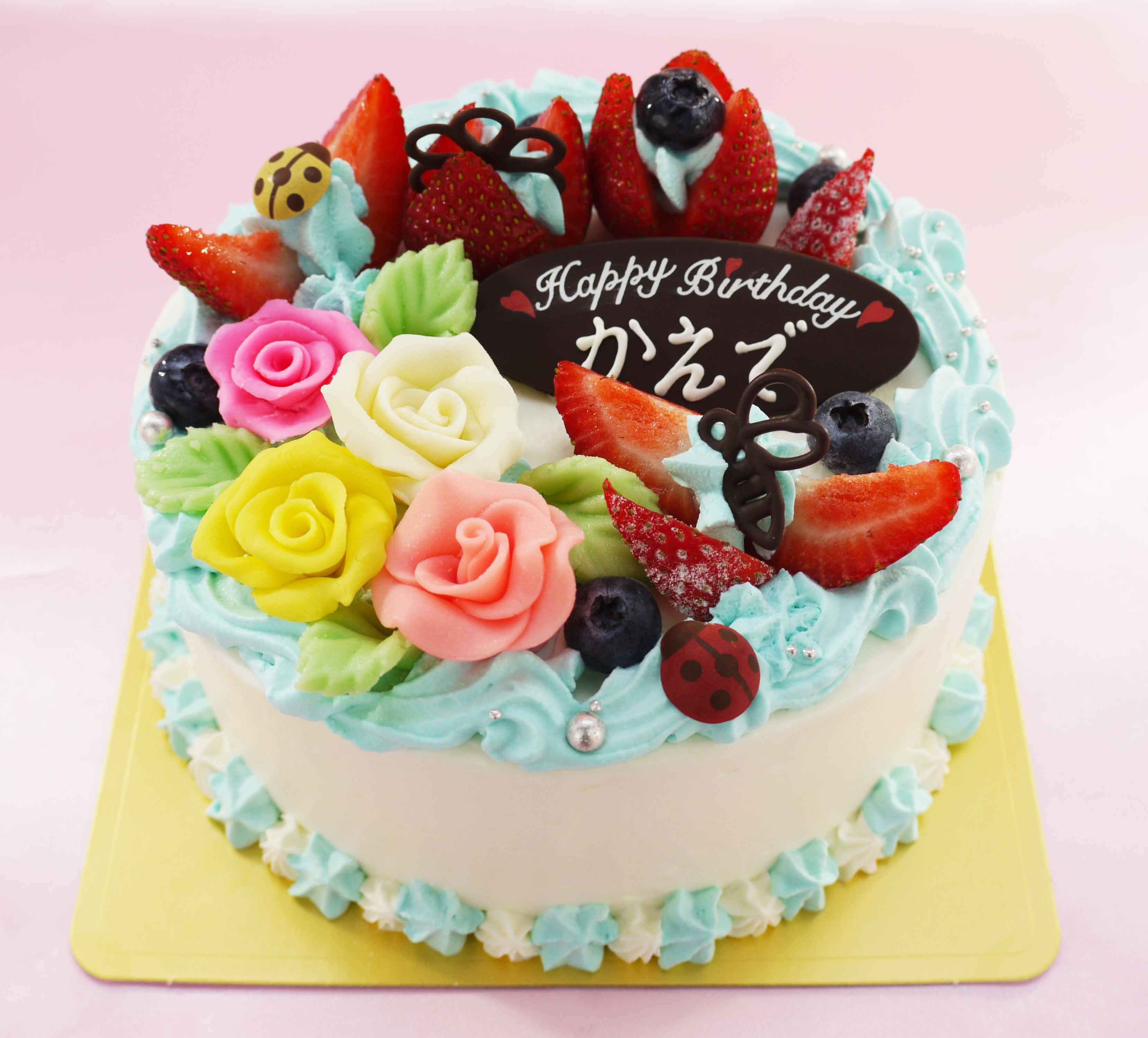 水色のお花畑のケーキ