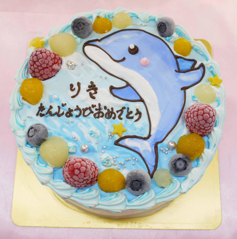 イルカのイラストケーキ