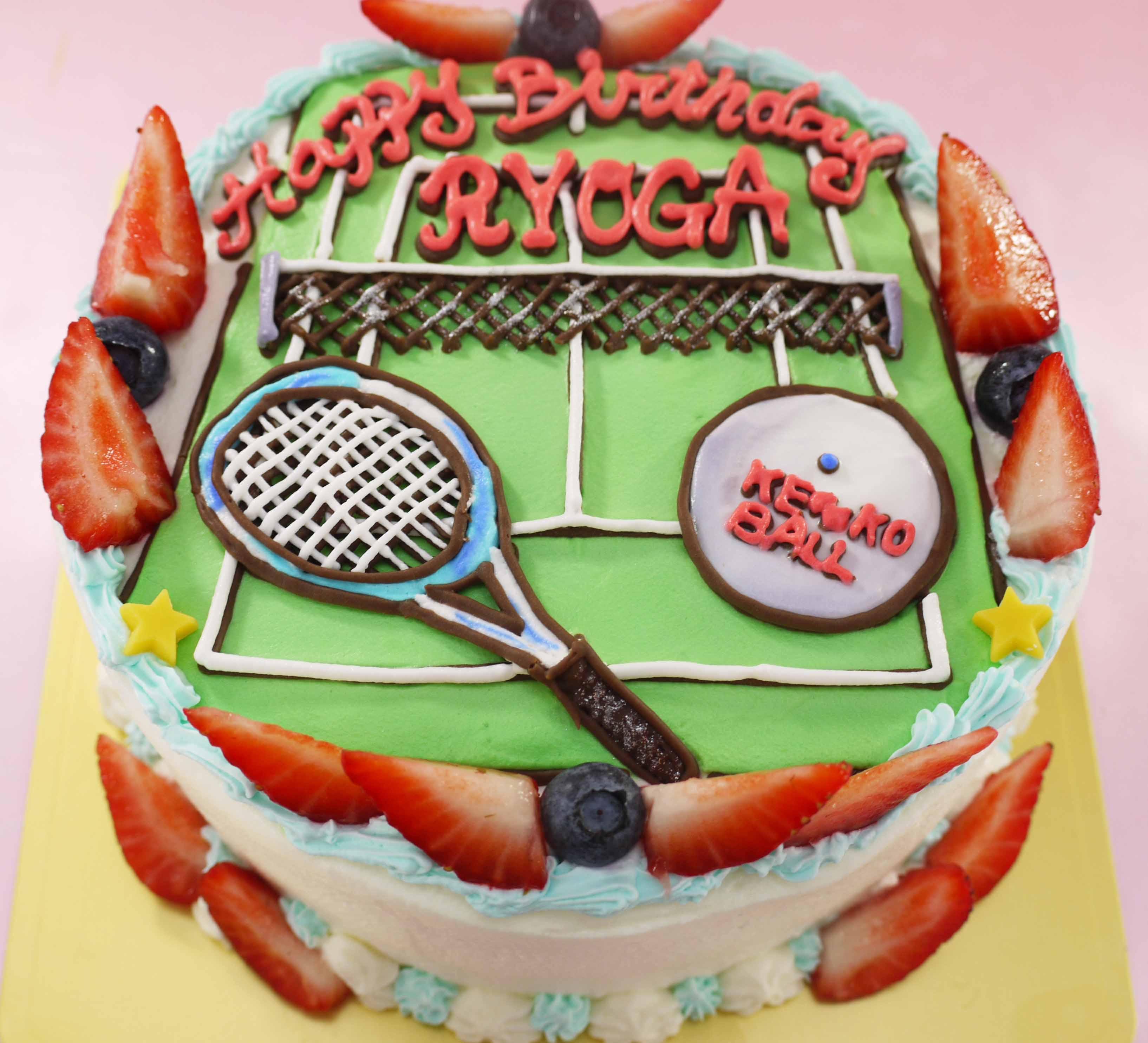 テニスのイラストケーキ