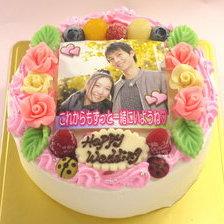 お花畑の写真ケーキ【5号~】