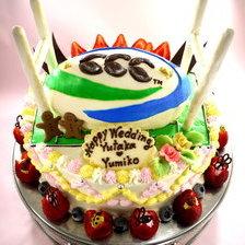 ラグビーボールの立体ケーキ