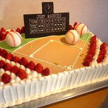 【二次会・パーティ用・盛岡市】野球場の大型パーティ用ケーキをお作りしました