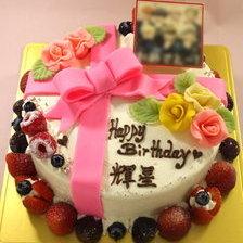 【写真付き】リボンのケーキに写真乗せ!