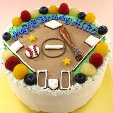 【全国配送】野球場のイラストケーキをお作りしました