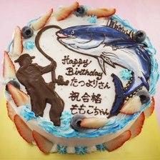 【店頭受取】魚釣りのイラストケーキを作りました