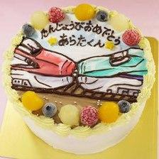 【全国配送】連結した新幹線のイラストケーキをお作りしました