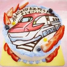 【店頭受取】新幹線のイラストケーキを作りました