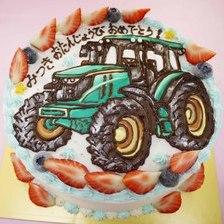 【店頭受取】トラクターのイラストケーキを作りました