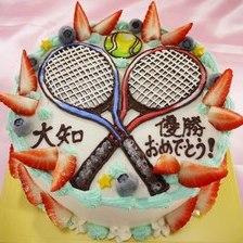 【店頭受取】テニスラケットのイラストケーキを作りました