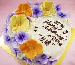 食べれる花飾りのケーキ【4号2~3人用¥3,800~】